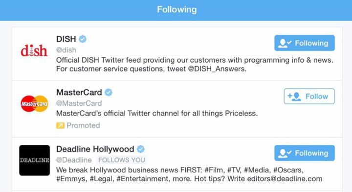 Twitter takip listesi sponsorlu hesaplar