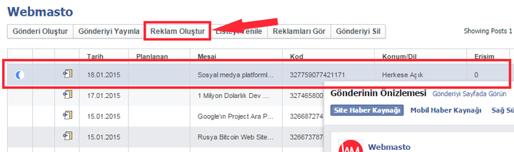Facebook Dark Post reklam oluşturma 5