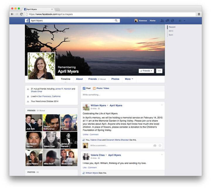 Facebook Legacy Contact profil sayfası