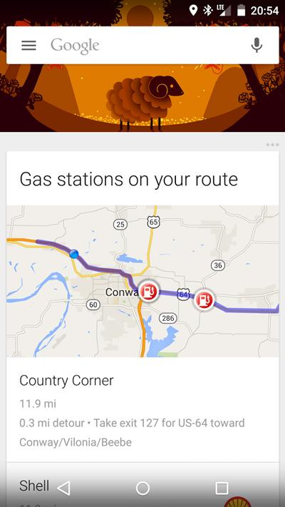Google Now akaryakıt istasyonları