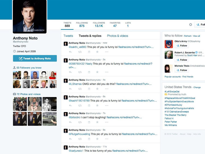 Twitter CFO Anthony Noto Hack