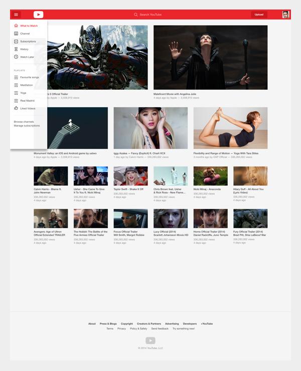 Youtube Redesign Concept - Anasayfa