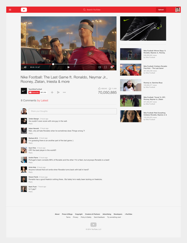 Youtube Redesign Concept - Video sayfası