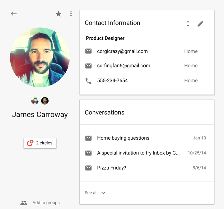 Google Contacts e-posta ve etkinlikler