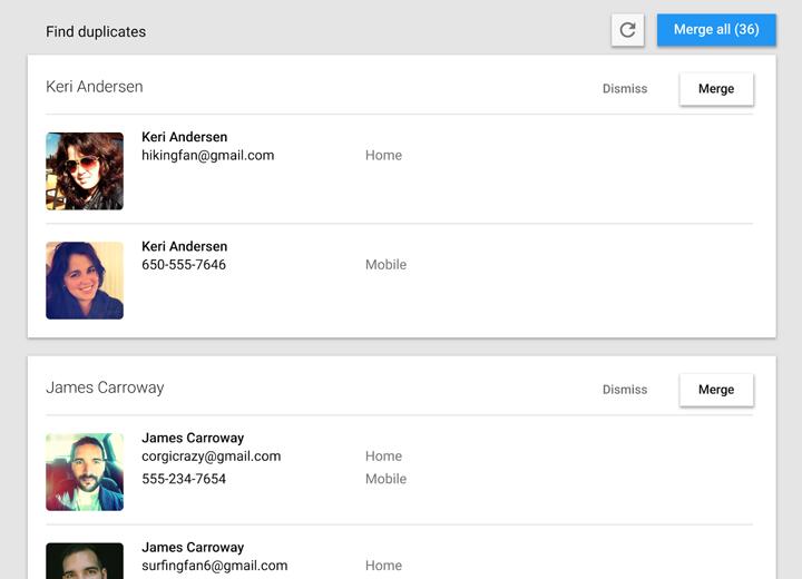 Google Contacts yinelenen hesaplar