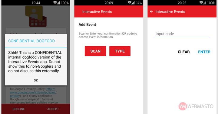 Google Interactive Events uygulaması