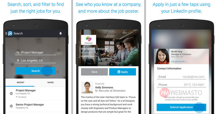 LinkedIn Job Search Android uygulaması