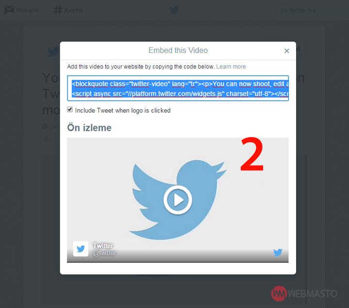 Twitter video embed özelliği