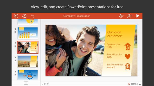 Microsoft PowerPoint iOS uygulaması