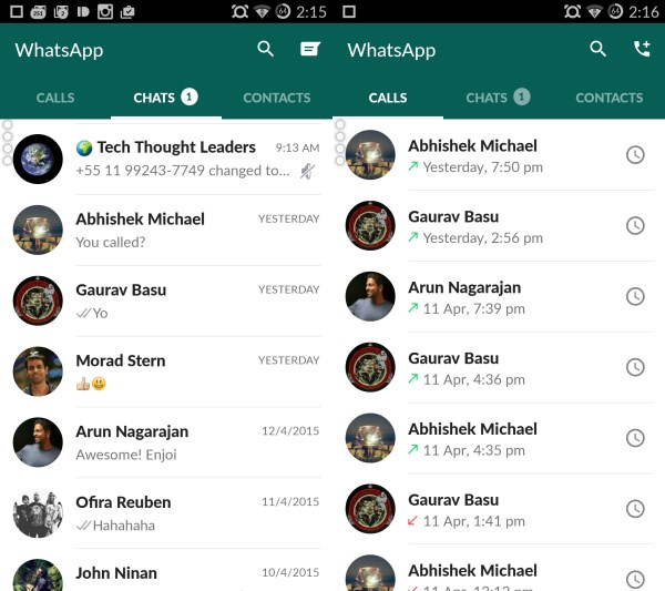 WhatsApp Material Design - Home