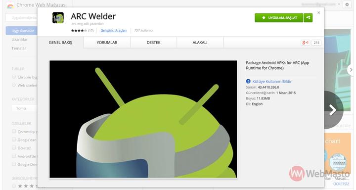 ARC Welde Chrome uygulaması