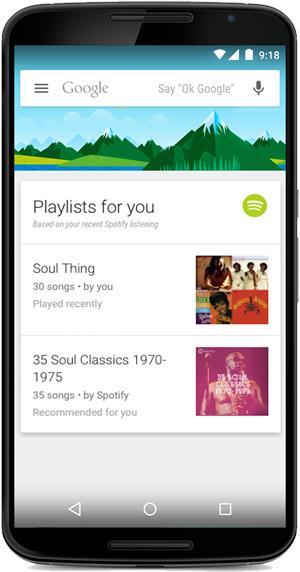 Google Now Spotify playlist