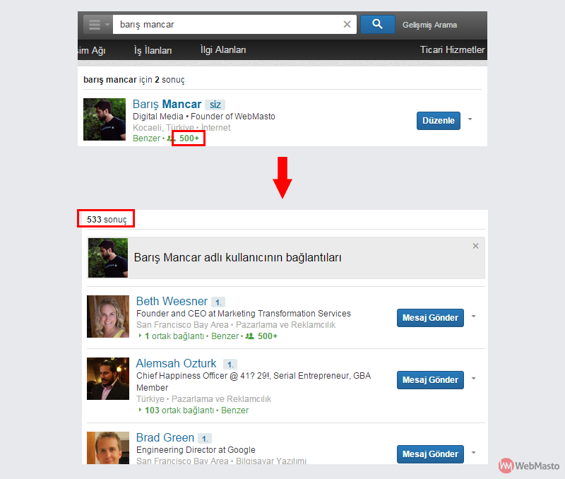 LinkedIn'de 500+ yazan bağlantı sayılarının tamamını görebilirsiniz.