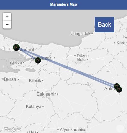 Marauders Map - Yaptığımız testten bir görüntü.