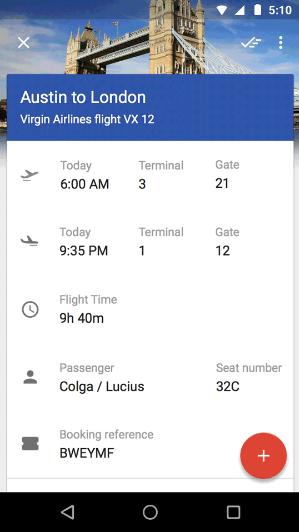 Google Inbox seyahat e-postaları