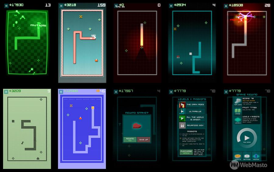 Snake Rewind oyunundan ekran görüntüleri.