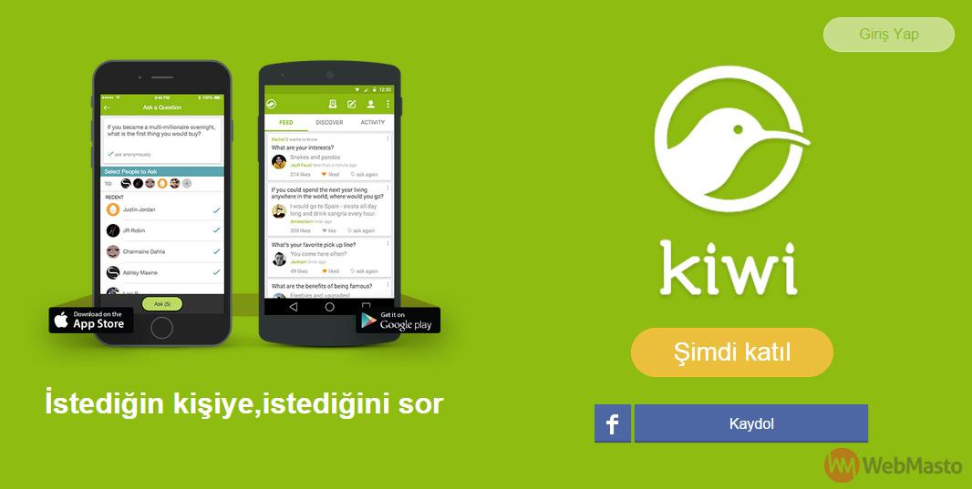 Kiwi uygulaması giriş ekranı