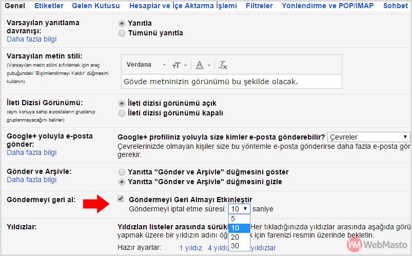 Gmail e-posta geri alma