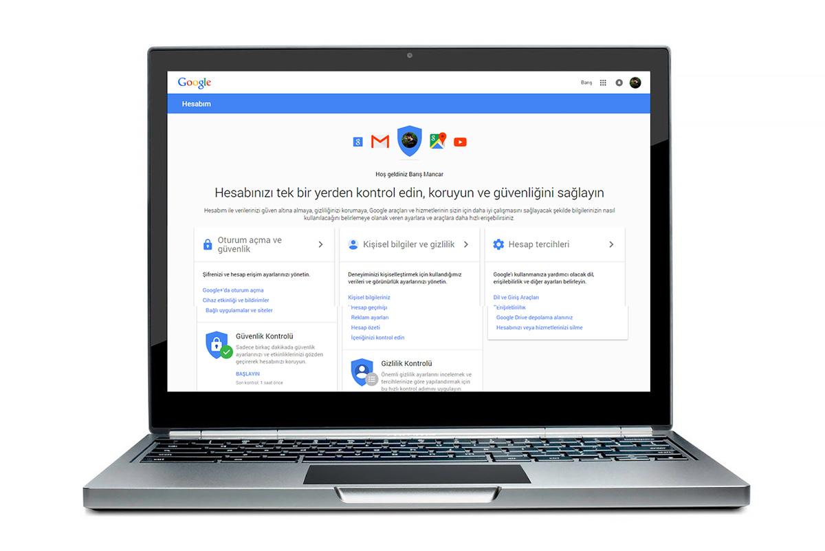 Google Hesabım sayfası ana ekranı