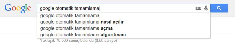 Google Otomatik Tamamlama