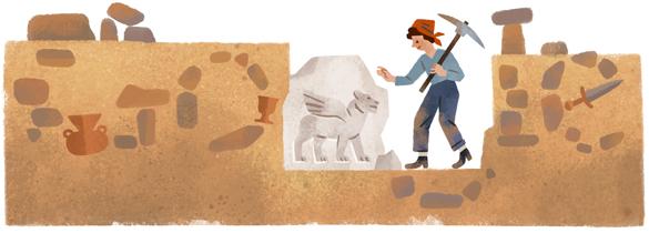 Google'ın Halet Çambel'in 99. doğum günü için hazırladığı doodle çalışması.