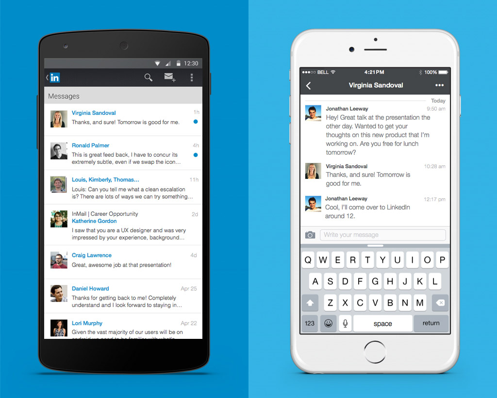 LinkedIn mesajlaşma (mobil)