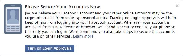 Facebook hack bildirimleri