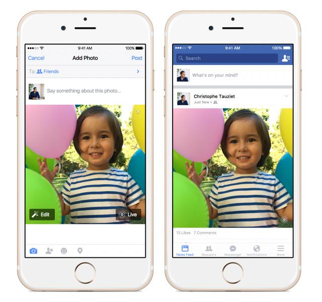 Facebook iOS Canlı Fotoğraflar