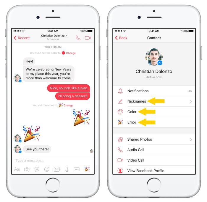 Facebook Messenger takma isim renk emoji kisişelleştirme