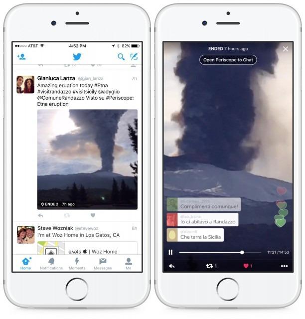 Periscope yayınları Twitter