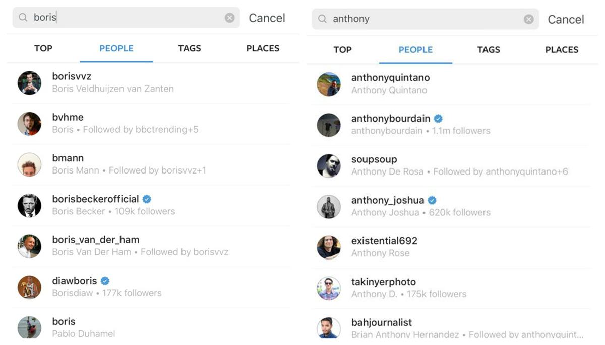 Instagram arama sonuçları