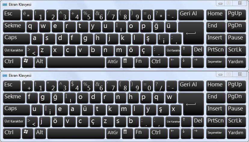 F klavye - Q klavye