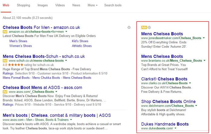 Google Sağ SÜtun Reklamları