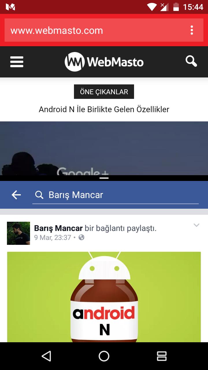Android N Çoklu Ekran dikey