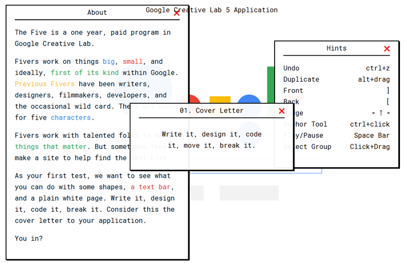 Google Creative Lab 5 Uygulamasi