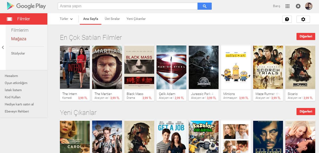 Google Play Filmler Türkiye