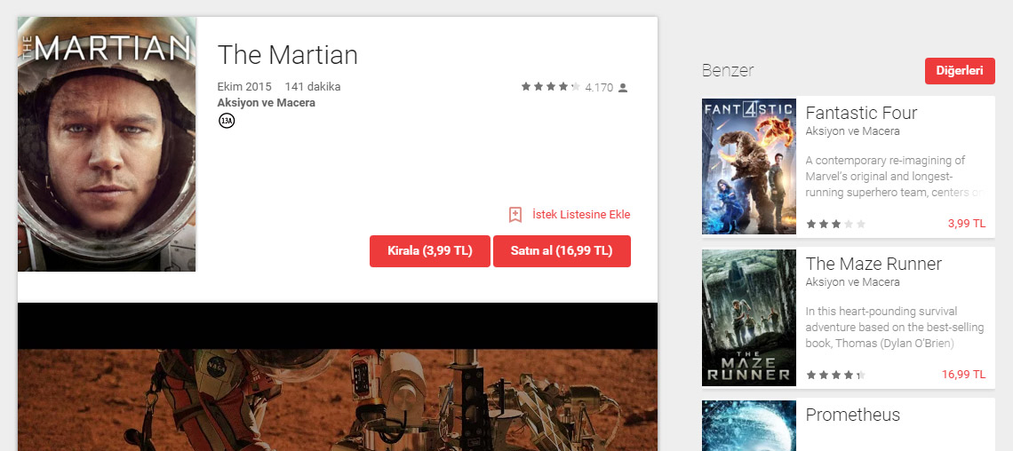 Google Play Movies Turkiye