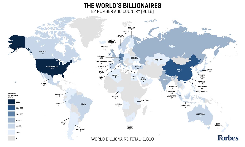 Milyarderler Listesi Haritası 2016