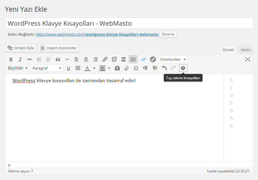 WordPress Klavye Kısayolları