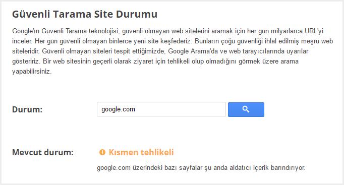Google Güvenli Tarama Site Durumu