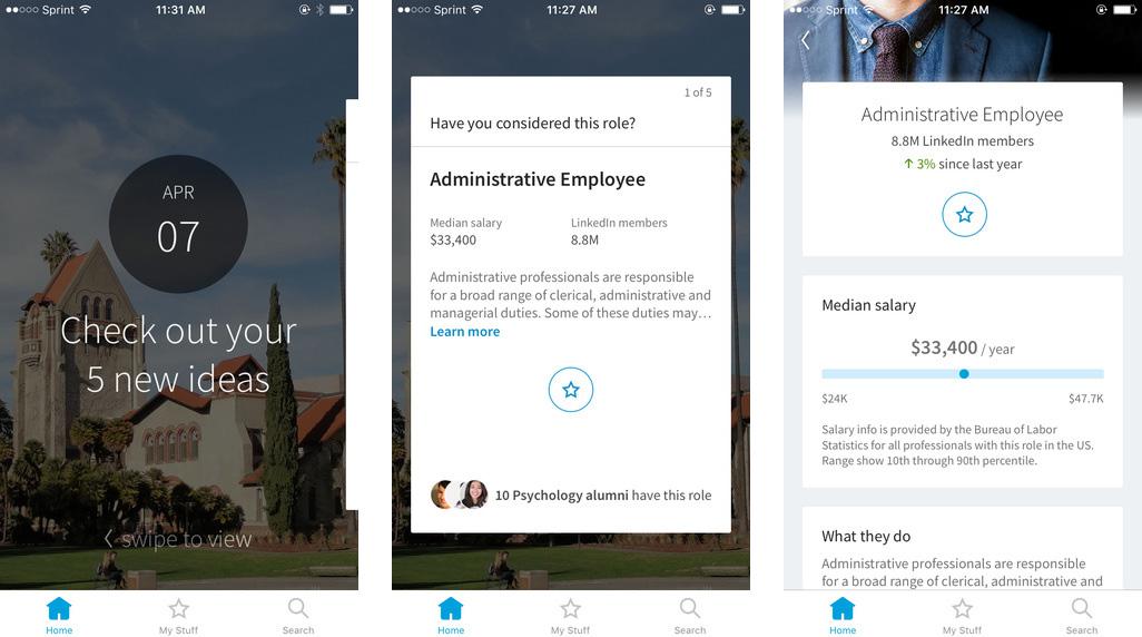 LinkedIn Students uygulaması