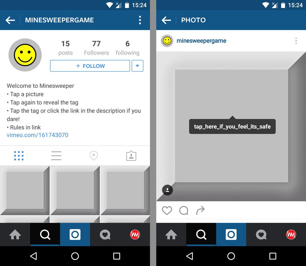 Instagram Mayın Tarlası Oyunu