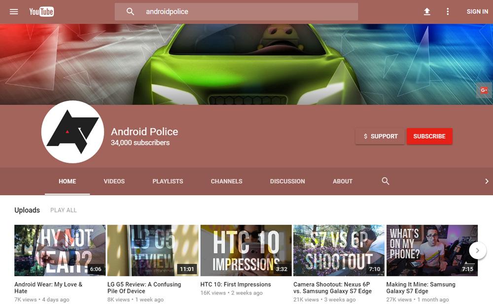 YouTube Kanal Sayfası Material Design