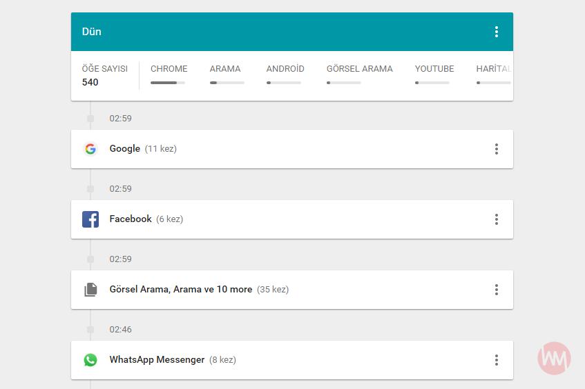 Google Etkinliğim My Activity