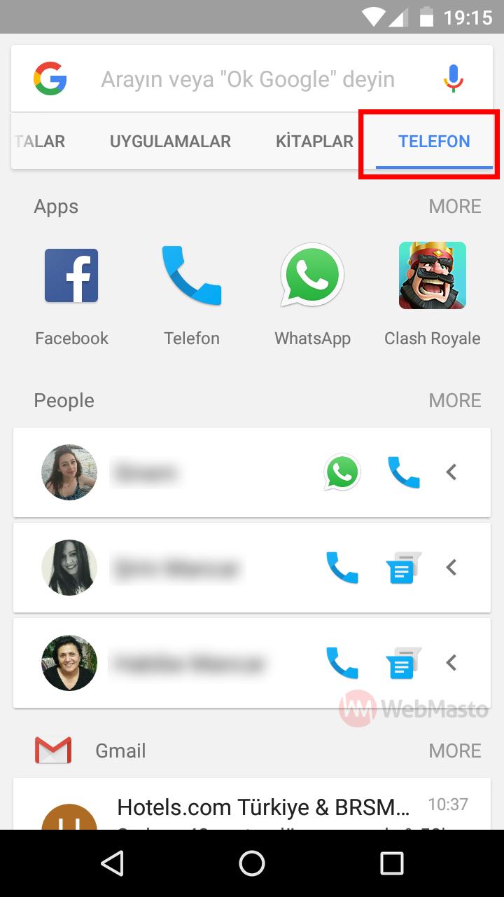 Google Arama Sonuçları Telefon İçi Arama Modu