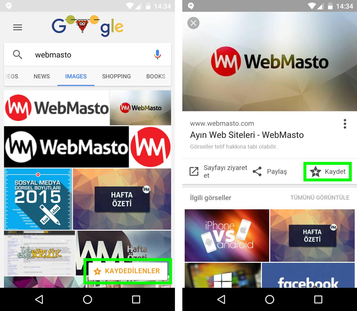 Google Görseller Kaydet Mobil