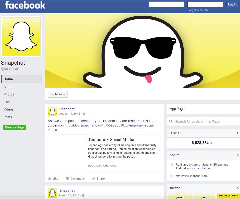 Snapchat Facebook Sayfası