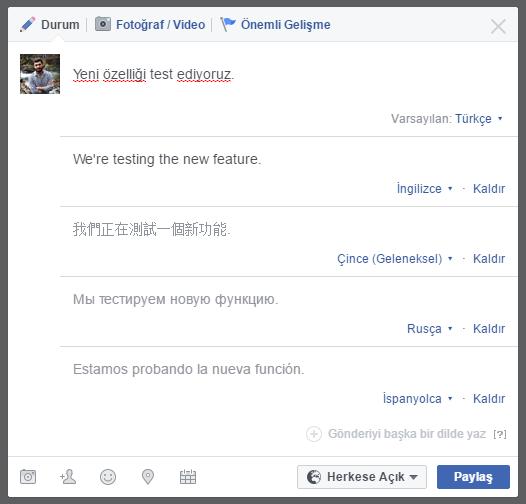 Facebook Çok Dilli Gönderi