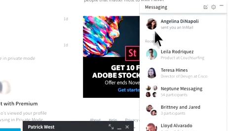 LinkedIn Anlık Mesajlaşma Popup 2016