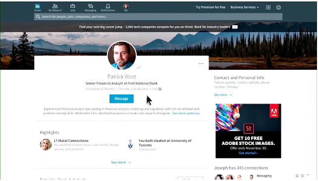 LinkedIn Profil Mesaj Butonu 2016